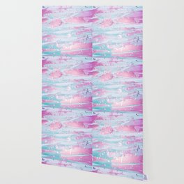Shine Shimmer Pastel Pink and Blue Modern Wallpaper