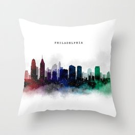 Philadelphia Watercolor Skyline Throw Pillow