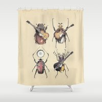 calvin Shower Curtains featuring Meet the Beetles by Eric Fan
