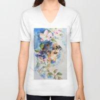 sakura V-neck T-shirts featuring Sakura by Hitomi
