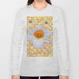 WHITE DAFFODILS DELICATE VIOLET SCROLLS ART  PATTERN Long Sleeve T-shirt