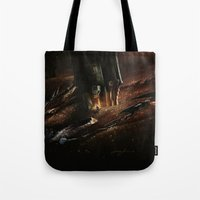 smaug Tote Bags featuring The Desolation of Smaug by Artechniq