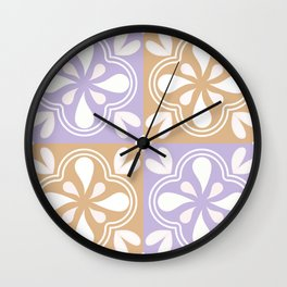 Abstract floral geometric tile Wall Clock