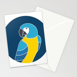 Blue and Yellow Parrot on Dark Blue Stationery Cards