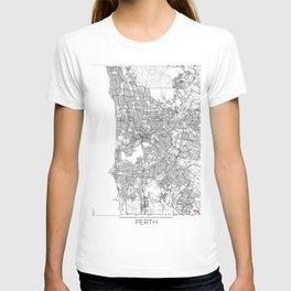 Perth Map White T-shirt