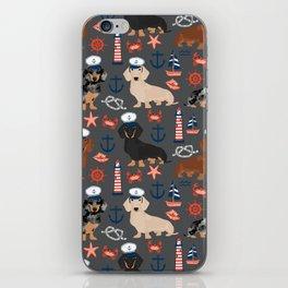 Dachshund nautical sailor dog pet portraits dog costumes dog breed pattern custom gifts iPhone Skin