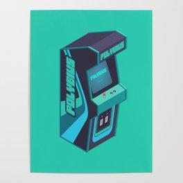 Polybius Arcade Game Machine Cabinet - Isometric Green Poster