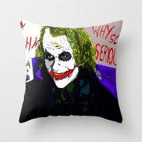 joker Throw Pillows featuring joker by Saundra Myles