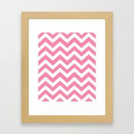Tickle Me Pink - pink color - Zigzag Chevron Pattern Framed Art Print