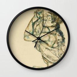 "Egon Schiele ""Female nude with raised shirt"" Wall Clock"