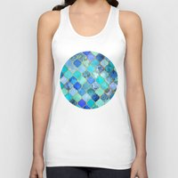 spain Tank Tops featuring Cobalt Blue, Aqua & Gold Decorative Moroccan Tile Pattern by micklyn