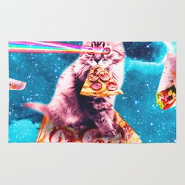 Space Cat Eating Pizza - Rainbow Laser Eyes, Burrito Rug