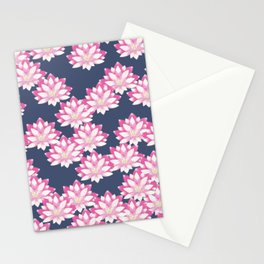 Lotus pattern on dark blue Stationery Cards