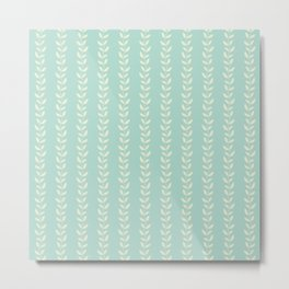 Pastel leaves abstract pattern Metal Print