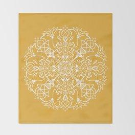 Lotus Mandala - Sunny Yellow Throw Blanket