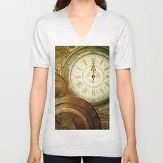 Steampunk, the clocks Unisex V-Neck