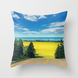 Canola Road Throw Pillow