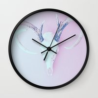antlers Wall Clocks featuring Antlers by Amy Harlow