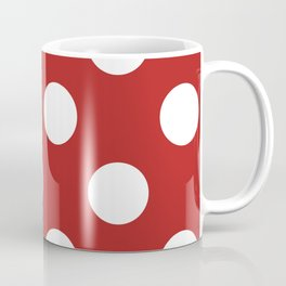 Large Polka Dots - White on Firebrick Red Coffee Mug
