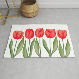Red Spring Tulips Watercolor Flowers Rug