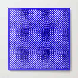 Tiny Paw Prints Pattern - Bright Blue & White Metal Print