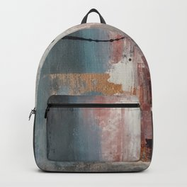 S'il Vous Plait: an abstract mixed-media piece in blue, gray, and gold by Alyssa Hamilton Art Backpack