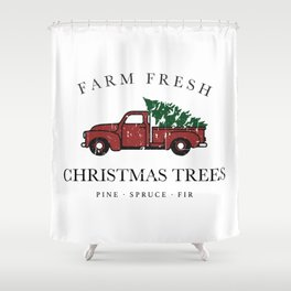 Christmas Tree Farm Vintage Truck Shower Curtain