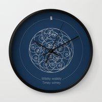 doctor Wall Clocks featuring Doctor Who: Wibbly Wobbly by Sof Andrade