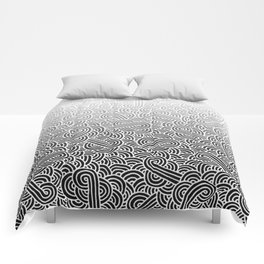 Faded black and white swirls doodles Comforters
