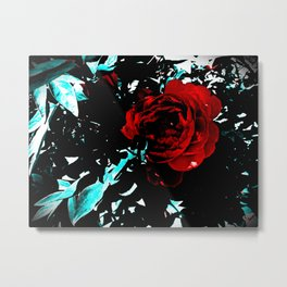 Teal & The Red Rose Metal Print
