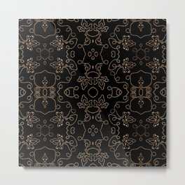 Elegant gold embellishments on black Metal Print