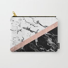 Modern black white marble color block rose gold Carry-All Pouch