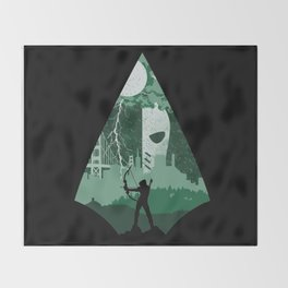 Arrow green Throw Blanket