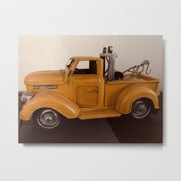 Vintage Truck Work Truck Yellow Truck  Metal Print