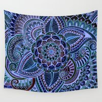 henna Wall Tapestries featuring Really Blue Henna Style  by Doodle Art Designs by Dwyanna Stoltzfus