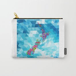 New Zealand Map : Square Carry-All Pouch