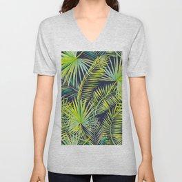 Palm Leaves on Navy Background Unisex V-Neck