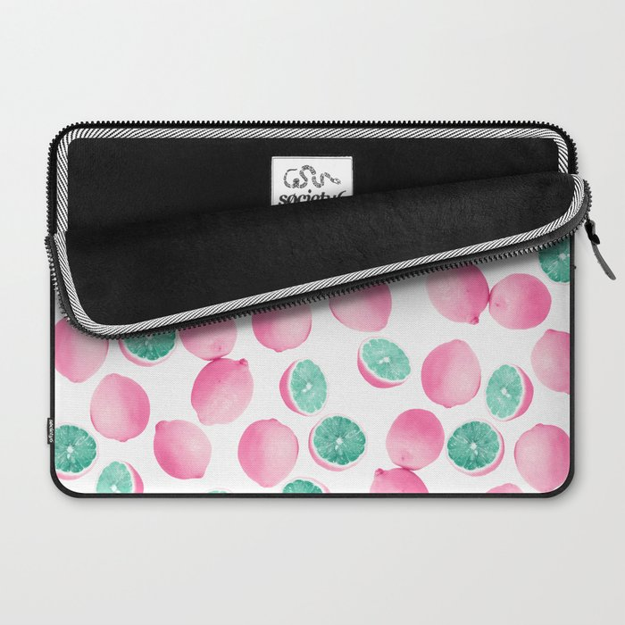 Citrus Lemons in Pink and Teal Laptop Sleeve