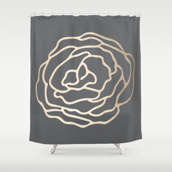 Rose White Gold Sands On Storm Gray Shower Curtain