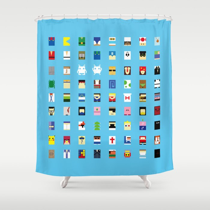 Marvelous Minimalism Beloved Videogame Characters Shower Curtain
