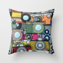 Vintage camera pattern Throw Pillow
