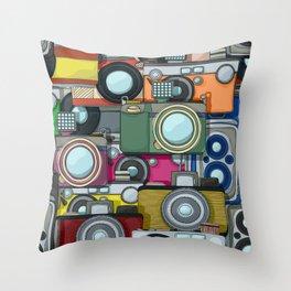 Vintage camera pattern Throw Pillow