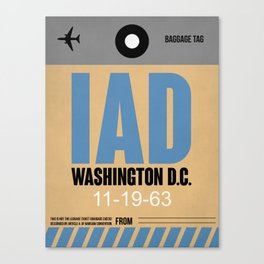 IAD Washington Luggage Tag 1 Canvas Print