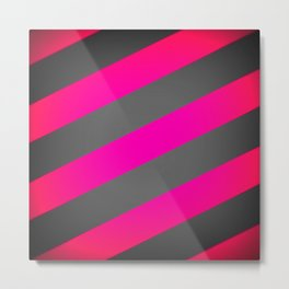 Hot Pink & Gray Diagonal Stripes Metal Print