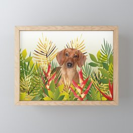 Little Dog with with Palm leaves Framed Mini Art Print