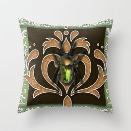 ELECTRIC BEETLE Throw Pillow