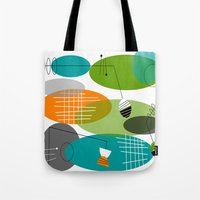 mid century modern Tote Bags featuring Mid-Century Modern Atomic Ovals by Kippygirl