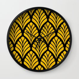 Art Deco Glam 24-Karat Gold Sophisticated Pattern Wall Clock