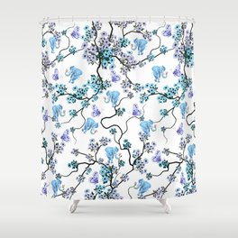 Modern lavender teal floral elephant butterfly pattern Shower Curtain