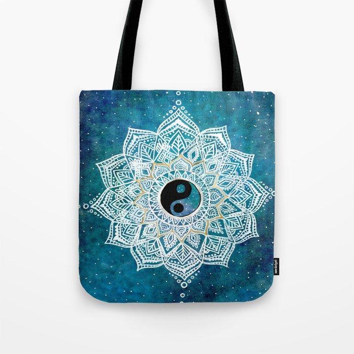 Yin and Yang Galaxy Mandala Tote Bag